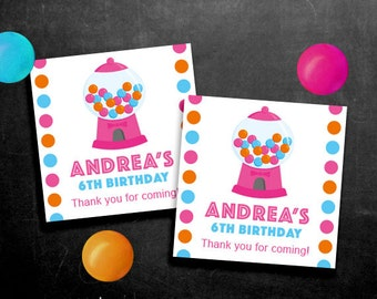 Personalized Gumball Party Favor Tags or Stickers – DIY Printable – Pink (Digital File)
