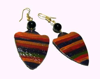 Leather Earrings Colorful Earrings Statement Earrings Chandelier Earrings Wearable Art Jewelry
