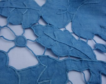 """IndigoTablecloth and 6 Napkins Vintage Tablecloth Blue Natural DyeTablecloth Poppy Table Topper Cutwork Embroidered  Madeira Linen 34"""" x 34"""""""