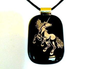 "The Unicorn"" Fused Glass Pendant w/24k Gold Unicorn Necklace"
