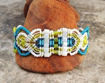 Caribbean Plaid Micro Macrame Bracelet - Beaded Macrame - Macrame Bracelet - Aqua,  White and Green