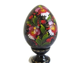 Vintage Hand Painted Ukraine Signed Collector Egg with Stand