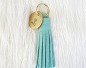 Aqua Suede Tassel + Personalized Gold Tag