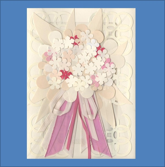 Wedding Bouquet Card - Ivory on Ivory - 4 colors to choose from- Over 20 flowers - Free Shipping in USA