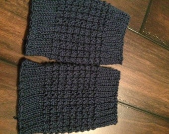 Navy blue boot cuffs hand knit in waffle stitch