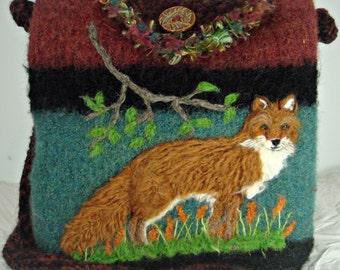 Felted purse, felted handbag, red fox, fox art, fox purse