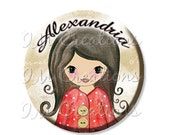 """50% OFF - Pocket Mirror, Magnet or Pinback Button - Party Favors 2.25"""" -  Personalized Name Girl dark brown hair MR238"""