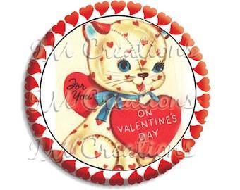 "Valentine's Day Cat Pocket Mirror, Magnet or Pinback Button - Favors - 2.25""-  MR491"