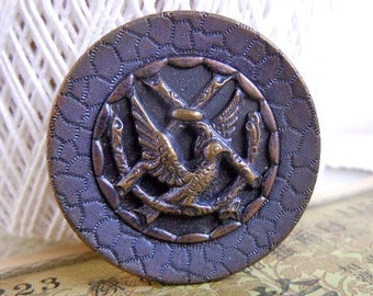 """Antique Large 1.5"""" Stamped Brass Sewing Button with Peace Dove Bird on Branch"""