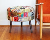 Vintage Inspired Patchwork Foot Stool/Ottoman Mid Century Modern