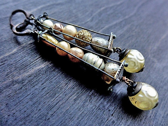 Havisham. Statement caged faux pearl earrings. Mixed media assemblage jewelry. Vintage baroque glass pearls.