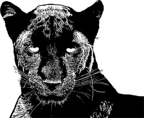 black panther wild cats clipart png cliprt Digital Image Download digi stamp digital stamp jungle animal artblack and white printables