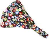 Colorful headband, cotton non slip headscarf, women hair wrap, child bandana, baby girl toddler sports summer beach rainbow flowered black