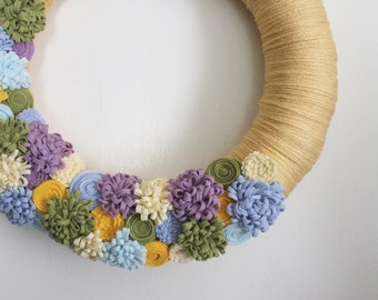 Spring Wreath, Pastel Wreath, Yarn and Felt Wreath, Floral Wreath, 14 inch  - Ready to Ship
