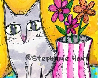 Silken on the Table by Stephanie Hart, Archival print Watercolor Illustration 8x10, Cat Art