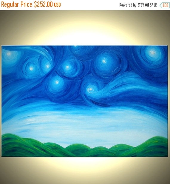 Original Starry Night Painting Acrylic Blue Green Art Modern Abstract Landscape Textured Night Impressionist Stars by Lafferty - 36X24