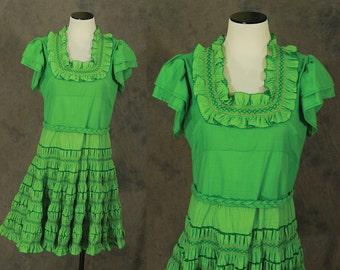 vintage 60s Ruffled Dress - 1960s Smocked Green Square Dance Dress Sz M