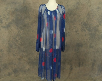 vintage 70s Tent Dress - 1970s Sheer Chiffon Dress Balloon Sleeve Navy Blue Dotted Dress Sz M L XL