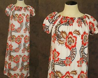 vintage 70s Tent Dress - 1970s Boho Orange Floral Batik Peasant Dress - Ethnic Hippie Dress Sz XS S