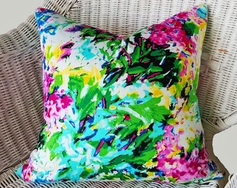 "Vibrant Floral Pillow Cover, Colorful Boho Pillow, Eclectic Cushion Cover, Abstract Watercolor, Blue Pink Yellow Green, Dorm Decor 18"", NEW"