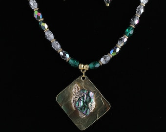 Dichroic Glass Necklace Set. Listing 458959876