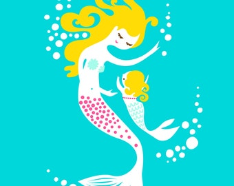 "8X10"" mermaid mother & daughter giclee art print on fine art paper. teal blue, magenta pink, blonde."