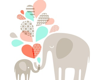 "14X11"" Elephants silhouettes landscape giclee print on fine art paper. Coral pink, mint, taupe"