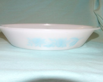 Vintage White Glass Divided Baking Dish Turquoise Blue Wildflowers