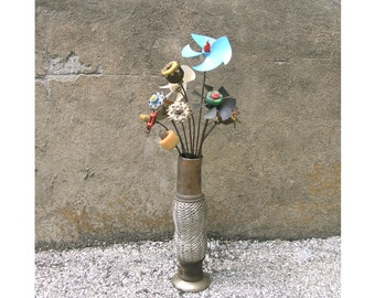 Unique Metal vase, Tall Flower Vase, Interior Design, auto parts, table centerpiece, flower bouquet, hotel vase, classy decor, wedding vase