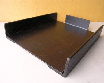 Metal Paper Tray, Desktop Organizer, Angle Iron, Boyfriend Gift, Industrial Style, Office Tray, Desk Accessory, In Out Tray, Coworker Gift