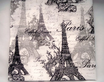 Man's New Handkerchief, Pocket Square, All Cotton, Black Grey White, French Picture, La Tour Eiffel, Paris Scene, Handmade Handkerchief