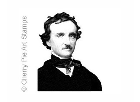 Edgar Allan POE - CLING STAMP for acrylic block by Cherry Pie Art Stamps