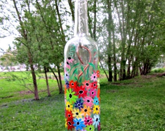 Recycled Clear Wine Bottle, Garden Light,  Hanging Candle Holder,  Lantern,  Hand Painted Colorful Flowers All Around