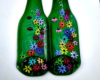 Double Melted Green Bottle Spoon Rest,  Hand Painted Colorful Flowers,  Bottle Spoon Rest, Trivet, Kitchen Decoration