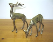 Vintage Brass Deer Office Home Decor Doe and Buck Brass Figurines