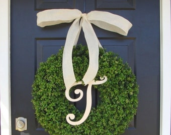 FALL WREATH SALE Monogram Letter Boxwood Wreath Front Door Monogram Wreath  Wedding Wreath Wedding Gift Wedding Decor Outdoor Wreath