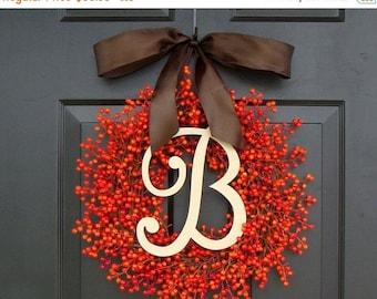 FALL WREATH SALE Fall Berry Wreaths,  Monogram Fall Wreaths, Orange Pumpkin Wreath with Bow Weatherproof Berries