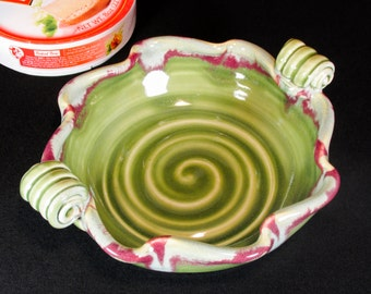 Brie Baker with Handles - Green Fluted Baking Dish - In Stock