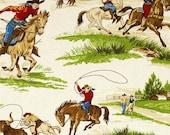 Ride 'em Cowboy Cream Scenic Western Cotton Fabric by Robert Kaufman