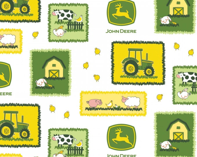 John Deere Farm Scene Cotton Fabric by Springs Creative