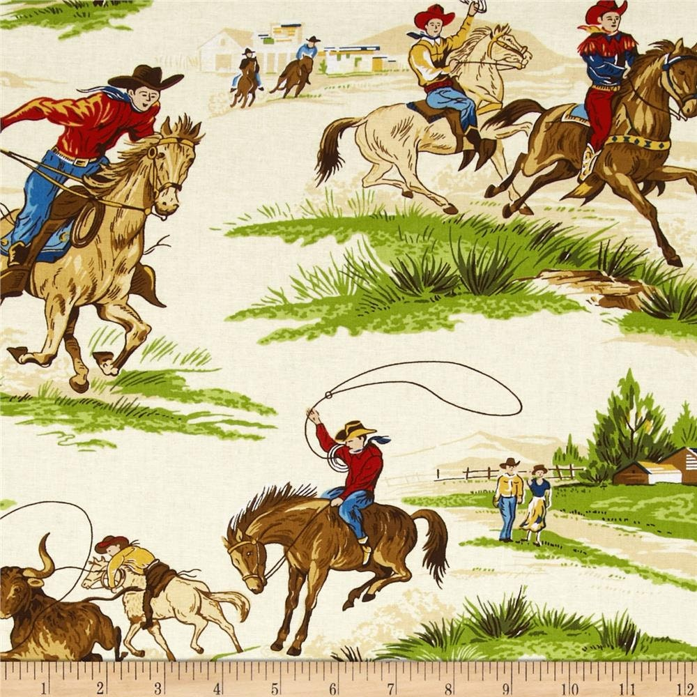 Ride Em Cowboy Cream Scenic Western Cotton Fabric By