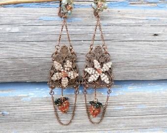 A LA FRAISE long dangles French handmade glass beads strawberrys earrings