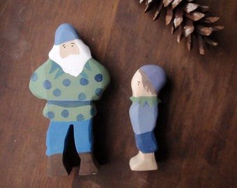 waldorf blueberry king and child set - elsa beskow doll figures - blueberry land