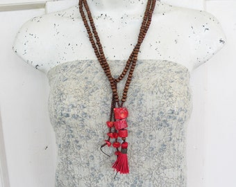 Long Tassel Necklace, Red Coral, Beaded Necklace, Mala Style Necklace, Handmade