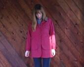 30% off ... Red Cotton Twill Parka Jacket with Corduroy Collar - Vintage 90s - MEDIUM M