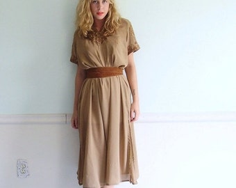 extra 30% off SALE ... Coffee Bean 'Broidered Vintage 70s SS Semi Sheer Chocolate Brown Long Ethnic Summer Dress M/L