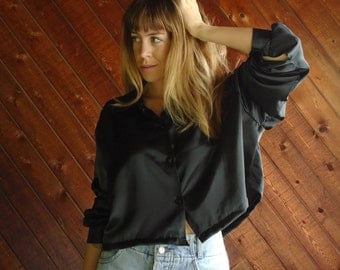 Black Satin Crop Top Blouse Shirt - Vintage 80s - XL