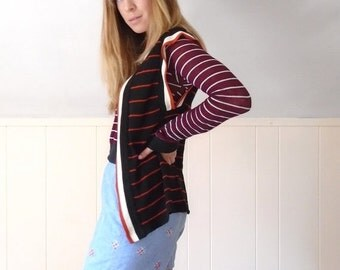 30% off ... Navy Red Cream Striped Retro Open Front Sweater Cardigan Vest - 60s 70s - SMALL S M