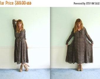 30% off ... Semi Sheer Black LS Floral Printed Gypsy Maxi Dress - Vintage 90s - LARGE L
