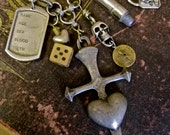 Peace and War: Cross Necklace Bullet Heart Dogtag Skull Dice EDGY Shabby Chic Brutalist Matte Silver ROCKER Goth Bad Girl Statement